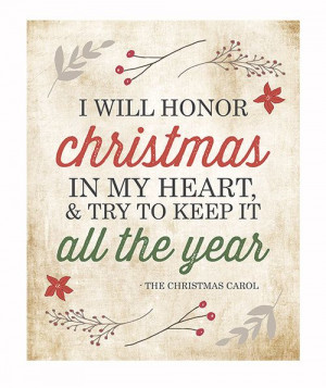 ... Christmas Charles Dickens Christmas Carol Quote / Holiday Decor / Red
