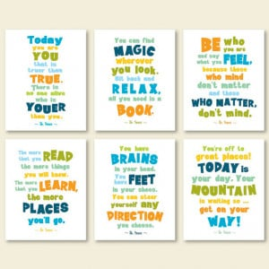 Dr Seuss quote posters, kids room quotes, playroom print set, dr seuss ...