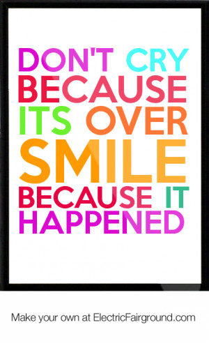 Don't cry because its over smile because it happened Framed Quote