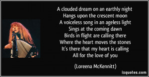 clouded dream on an earthly night Hangs upon the crescent moon A ...
