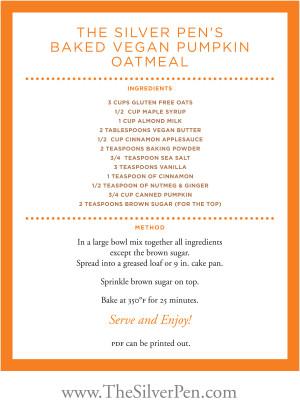 Vegan Pumpkin Baked Oatmeal