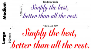 Simply The Best 2 (Tina Turner) Lyric wall decal size chart