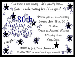 net birthday party 80th birthday party invitation wording ideashtml