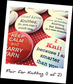 knitting sayings sayings, button badg, knit pin, knit humor, knit ...