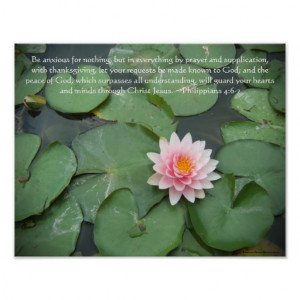 Pink and Green Lily Pad Flower w/Bible Verse Posters