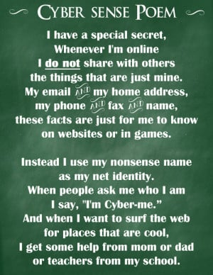 Cyber-Sense Poem - Tips to keep them safe & prevent cyber-bullying