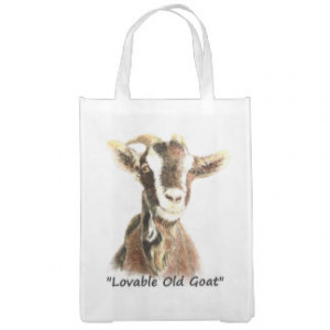 Watercolor Lovable Old Goat Fun Quote Farm Animal Grocery Bag