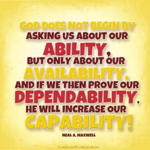 Ability....Availability....Dependability....Capability