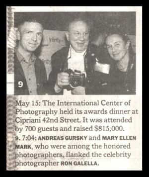 Andreas Gursky, Ron Galella & Mary Ellen Mark May 20 , 2001