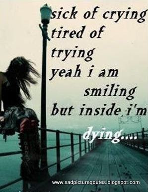 sick of crying sad quote with sad girl the sickk of cry is tireds of ...