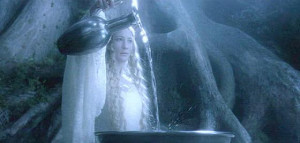 Galadriel pours water into her Mirror.