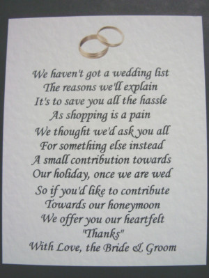 40 Wedding poems asking for money gifts not presents - Ref: no 2 ...