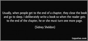 Usually, when people get to the end of a chapter, they close the book ...