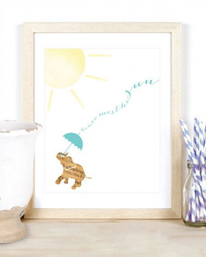 the Sun Beatles Quote Music Sheet Elephant Animal Watercolor Nursery ...