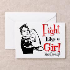 Lung Cancer Rosie Fight Like a Girl Greeting Card for