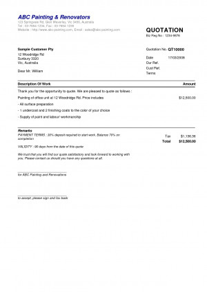Price Quotation Form Sample ABC Painting Renovators 123 Springvale Rd ...