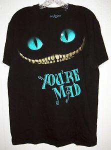 DISNEY CHESHIRE CAT SHIRT M L XL tim burton alice in wonderland mad ...
