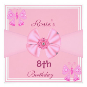 girl 8th birthday party invitation pink candles