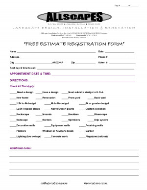 landscaping quotation examples – free estimate registration form1275 ...