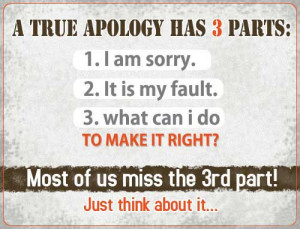 true Apology has 3 parts: 1. I am sorry. 2. It is make fault.