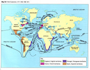 Hernan Cortes Route of Exploration On World Map