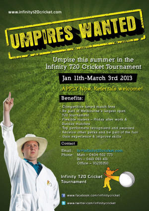 Umpires Wanted !!!