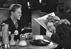 Mickey Rooney and Judy Garland on the set of