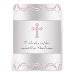Pink Cross Baby Girl Christening Baptism Invites from Zazzle.com