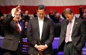 Rick Santorum, Rev. Dennis Terry and Tony Perkins at Greenwell Baptist ...