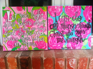 final product of the two Lilly bible verse canvases