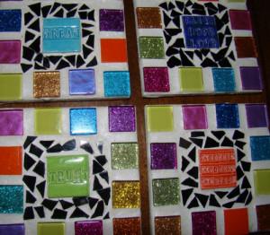 Inspirational Quotes Mosaic Rainbow COASTER Faith Trust Dream Kindness