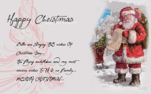 Merry Christmas Greeting Cards With Santa Claus Quotes