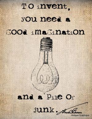 Thomas Edison Quote // http://www.etsy.com/shop/AntiqueGraphique