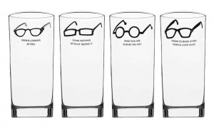 these glasses feature four different illustrated eyeglasses and quotes ...