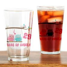 29th Anniversary Owl Couple Drinking Glass for