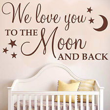 ... TO THE MOON AND BACK (With stars) - Wall sticker quote nursery WQ51