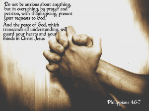 Prayer requests, image of praying hands with quote: Philippians 4:6-7.