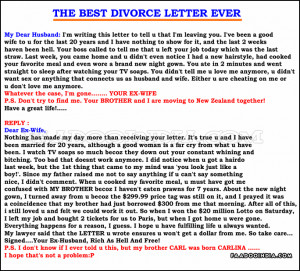 Divorce Quotes Funny For Women The best divorce letter ever