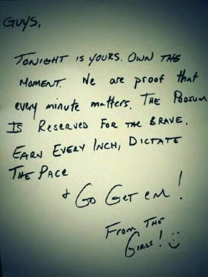 Canadian women's hockey team wrote the men a good luck note