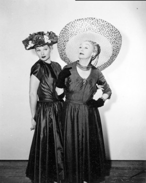 Hedda Hopper striking a pose with long-time friend Lucille Ball, ca ...