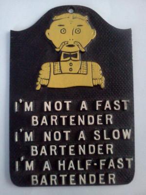 Humorous Old Timey Handlebar Mustache Bartender Metal Sign