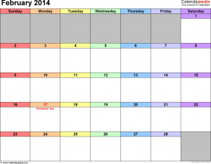 February 2014 Calendar with Holidays