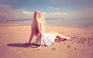 Hot alone girl at beach spending there time lonley