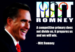 Mitt Romney smiling and a quote from him about being united.