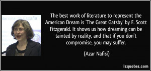 best work of literature to represent the American Dream is 'The Great ...