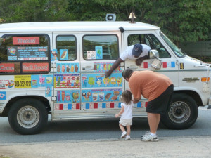 ... Katelyn's first visit with the ice cream truck/van today! Yummers