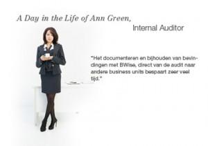 Een dag in het leven van Ann Green, Internal Auditor.