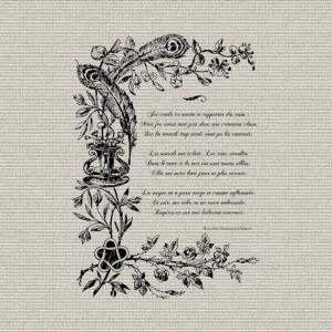 French Script Love Poem...