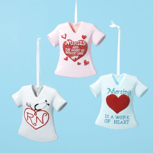 ... Pack of 12 Assorted Nurses Heart Quote T-Shirt Christmas Ornaments 3