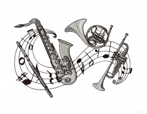 Flute Sax French Horn Trumpet Embroidery Design